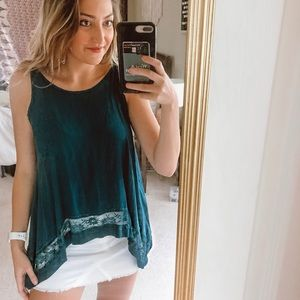 Free People Teal Lace Tank